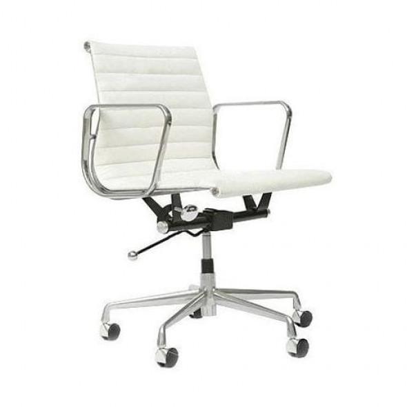 Fotel biurowy CH inspirowany proj. EA117- biała skóra