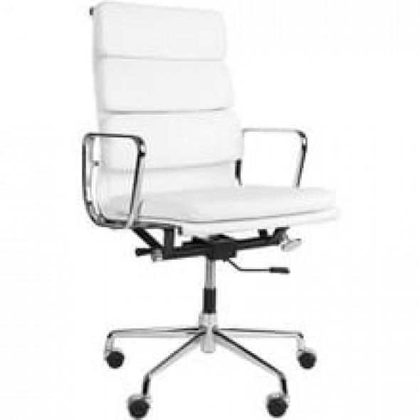 Fotel biurowy CH inspirowany proj. EA219 - wysoki - biała skóra