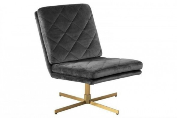 Fotel obrotowy CARRERA ciemny szary - welur, złota podstawa ACTONA