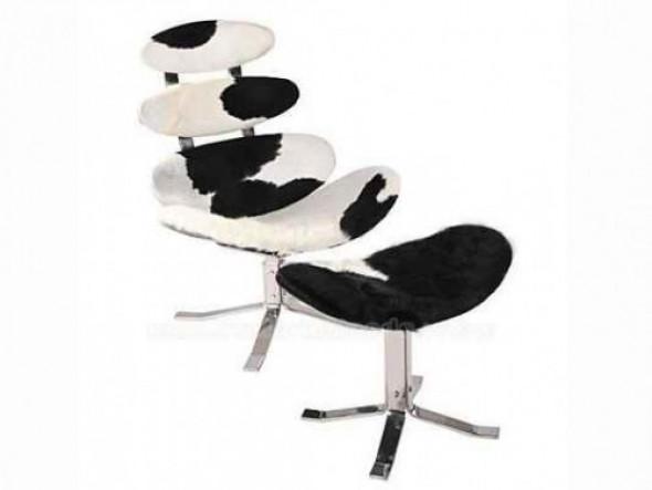 Fotel z podnóżkiem KORONA SKÓRA PONY - insp. proj. Corona Chair