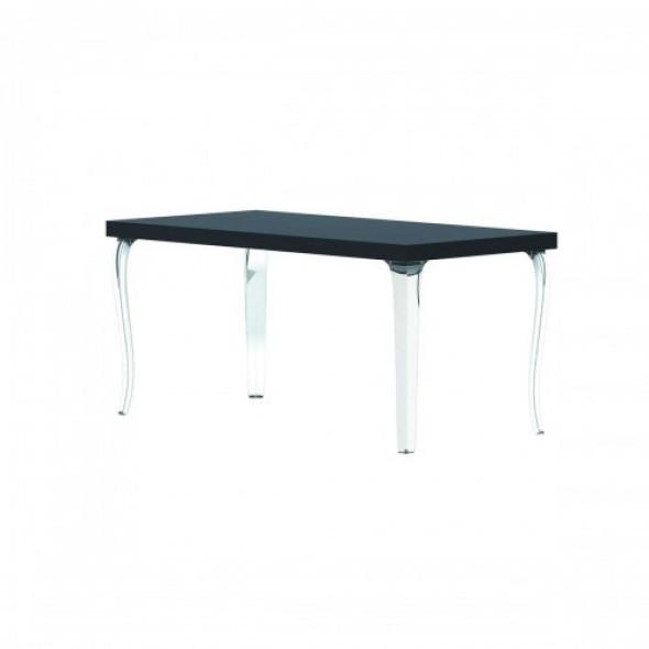 Stół BB czarny blat transparentne nogi QeeBoo
