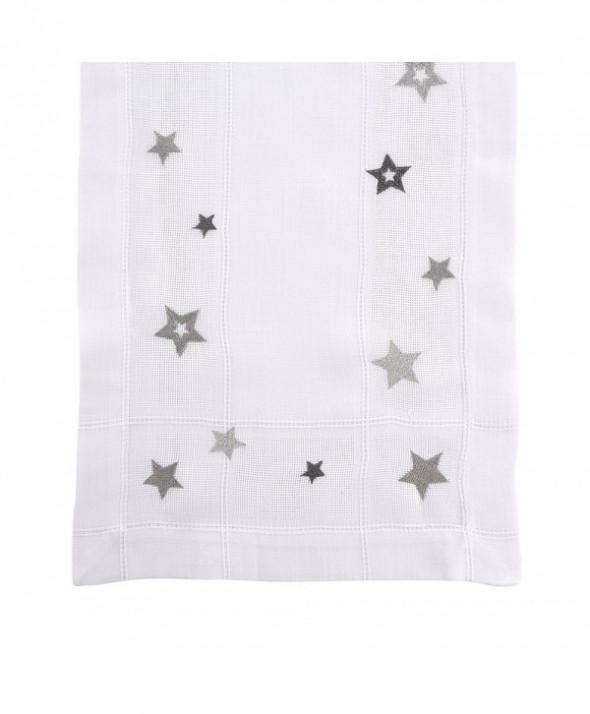 Bieżnik na stół świąteczny Boże Narodzenie Biały / Srebrne Gwiazdki 40 x 140 cm