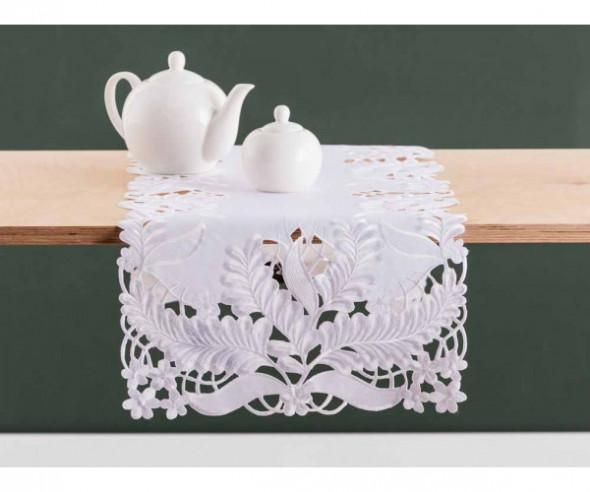 Bieżnik na stół biały dek. Ażurowe liście 40 x 140 cm