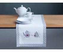 Bieżnik na stół haftowany  biały / kropki / czajniczki 40 x 150 cm