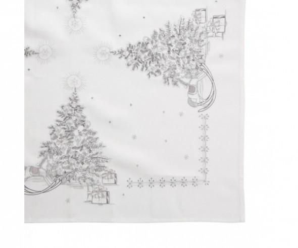 Bieżnik na stół świąteczny Boże Narodzenie biały, dekoracja Święta 40 x 140 cm