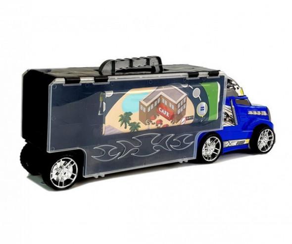 Ciężarówka  z Autkami  Policja Garaż Walizka Plansza Do Gry