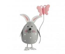 Figurka metalowa / ozdoba świąteczna na Wielkanoc Zając z motylkiem 7 x 9 cm