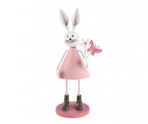 Figurka metalowa / ozdoba świąteczna na Wielkanoc Zając z motylkiem i kwiatkiem 6,5 x 19 cm