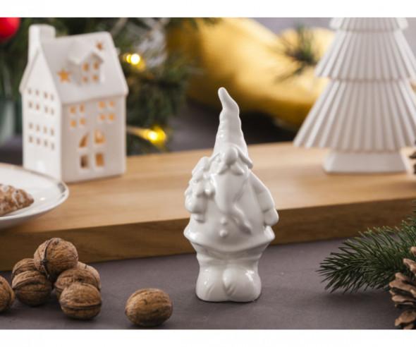 Figurka / ozdoba dekoracja świąteczna ceramiczna na Boże Narodzenie Mikołaj z Choinką 15,5 cm