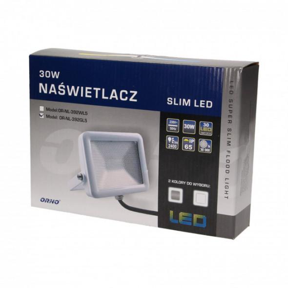 Naświetlacz SLIM LED 30W, srebrny