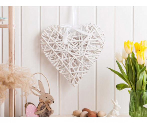 Ozdoba / zawieszka wiklinowa serce białe 32x36 cm