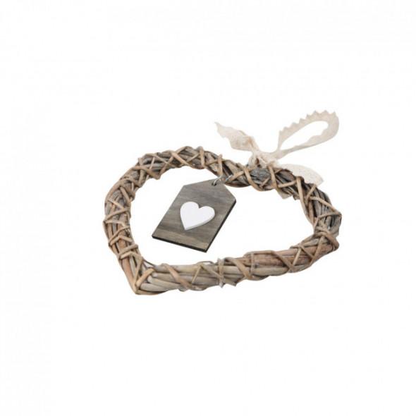 Ozdoba / zawieszka wiklinowa serce brązowe z zawieszką 20 cm