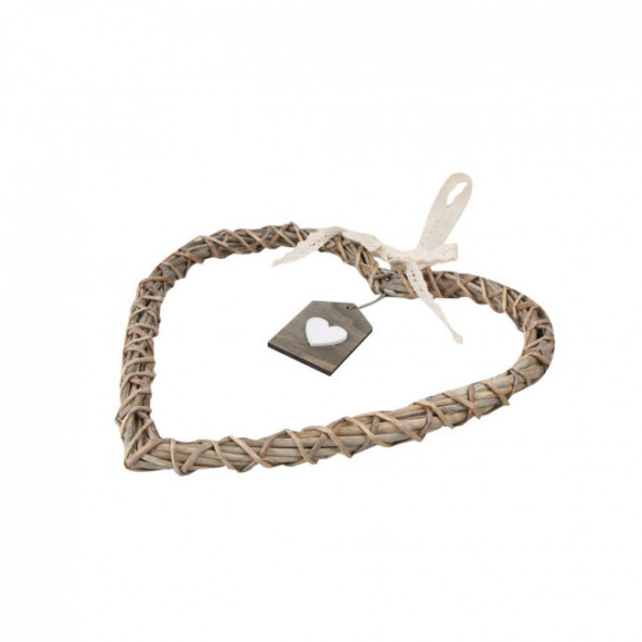 Ozdoba / zawieszka wiklinowa serce brązowe z zawieszką 25 cm