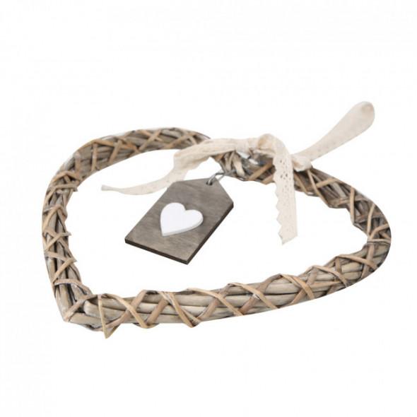 Ozdoba / zawieszka wiklinowa serce brązowe z zawieszką 30 cm