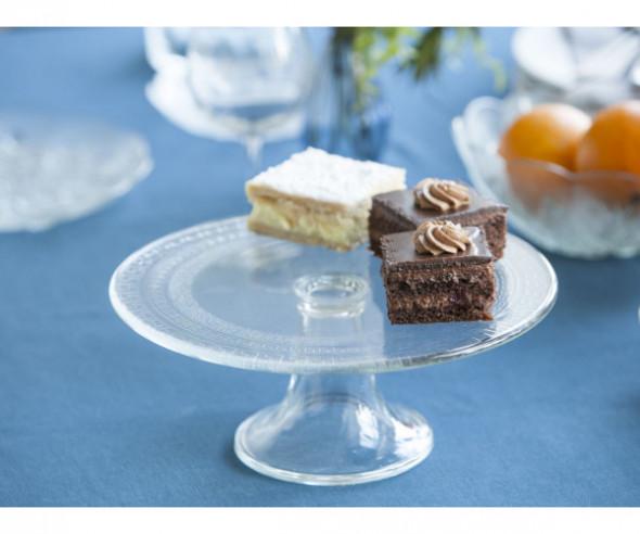 Patera na ciasto i tort / talerz szklany Edwanex Grecja 27,5 cm