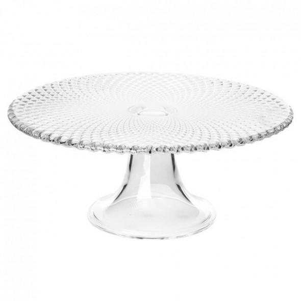 Patera na ciasto i tort / talerz szklany na nóżce Edwanex Karo 28 cm