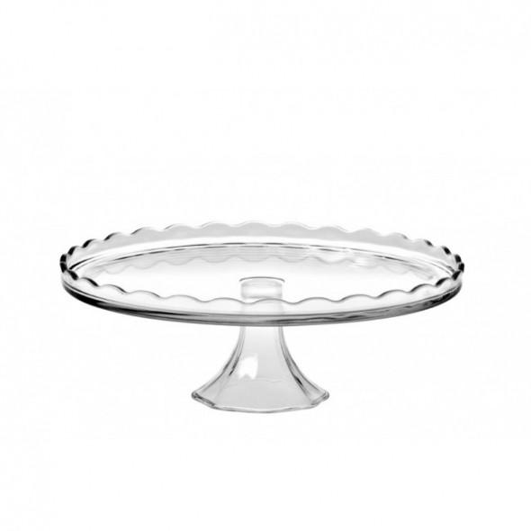 Patera na ciasto i tort / talerz szklany na nóżce Huta Jasło 32 cm
