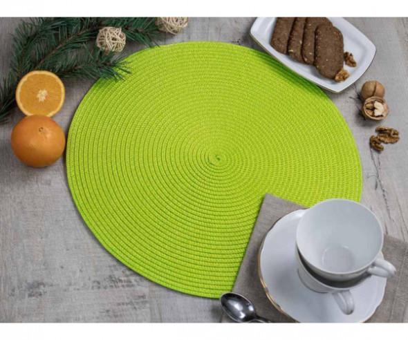 Podkładka / mata na stół słomkowa okrągła Zielona 38 cm