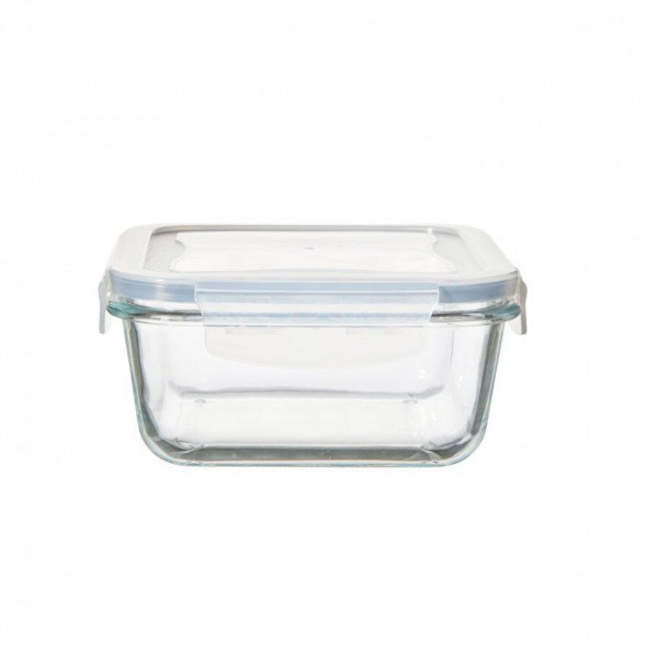 Pojemnik żaroodporny do mikrofali i piekarnika / do przechowywania z pokrywą z tworzywa Vega kwadratowy 0,7 l