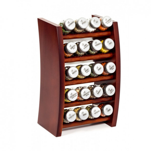 Pojemniki półka / stojak ze słoiczkami na przyprawy Gald Flipper ciemne drewno (20 elementów)
