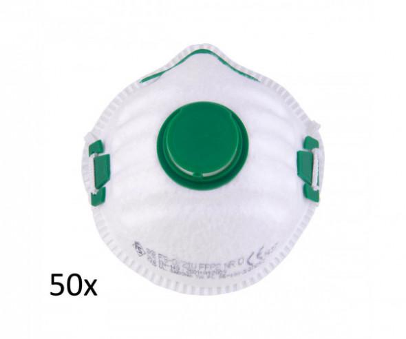 Półmaska filtrująca fs-o/21 v ffp2 nr d,50 szt., zawór,worek