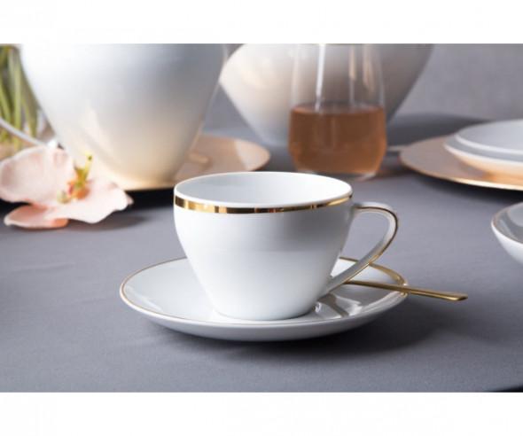 Zestaw kawowy dla 2 osób porcelana MariaPaula Moderna Gold ze złotym zdobieniem (4 elementy)