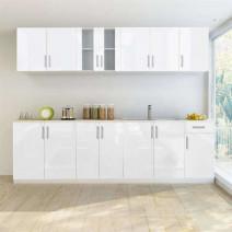 vidaXL 8-cz. zestaw mebli kuchennych na wysoki połysk, biały, 260 cm