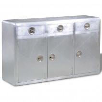 vidaXL Aluminiowy kredens vintage Aviator z 3 szufladami