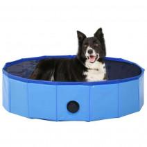 vidaXL Składany basen dla psa, niebieski, 80 x 20 cm, PVC