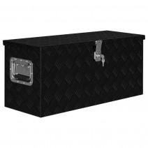 vidaXL Skrzynia aluminiowa, 80 x 30 x 35 cm, czarna