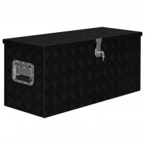 vidaXL Skrzynia aluminiowa, 90,5 x 35 x 40 cm, czarna