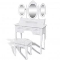 vidaXL Toaletka z taboretem i 3 lustrami, biała