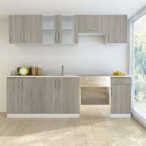 vidaXL Zestaw mebli kuchennych, 7 części, kolor drewna dębowego