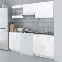 vidaXL Zestaw mebli kuchennych na wysoki połysk, 5 części, biały, 200 cm