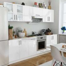 vidaXL Zestaw mebli kuchennych na wysoki połysk, 8 części, biały