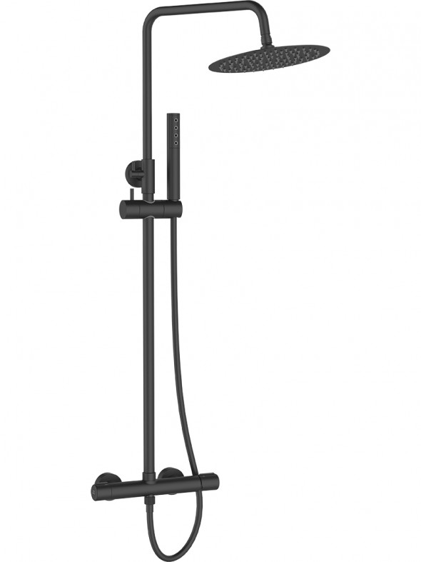 Kolumna natryskowa z baterią Laveo Pretto czarny PLP_70OB
