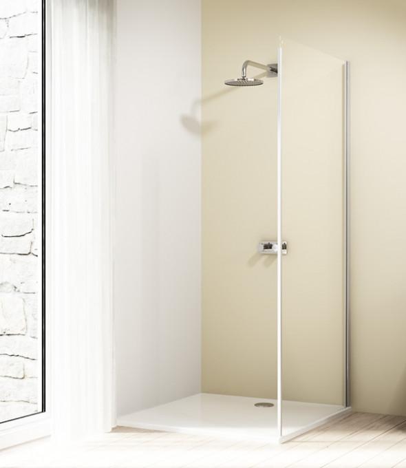 Ścianka boczna 4-kątna Huppe Design Elegance do drzwi suwanych 1-częściowych ze stałym segmentem 75cm Prawa 8E2801.087.321