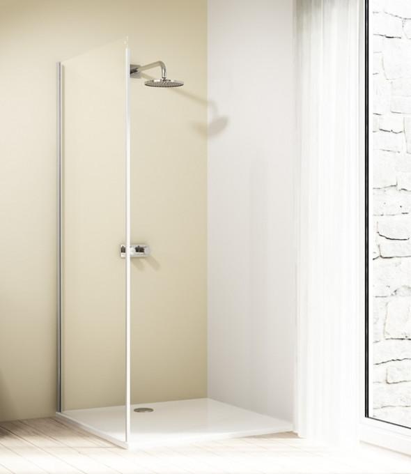 Ścianka boczna 4-kątna Huppe Design Elegance do drzwi suwanych 1-częściowych ze stałym segmentem 90cm Lewa 8E2703.087.321