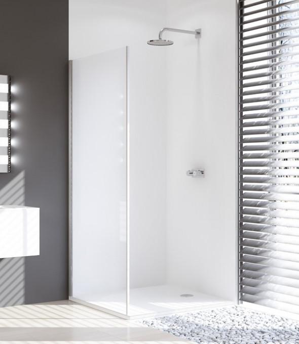 Ścianka boczna 4-kątna Huppe Design Pure do drzwi suwanych 1-częściowych ze stałym segmentem 75cm Lewa 8P2701.087.321