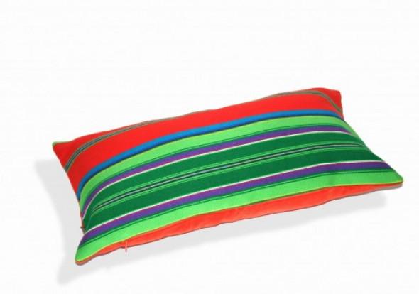 Poduszka czerwona folk pasiak łowicki, prostokątna 60x30cm
