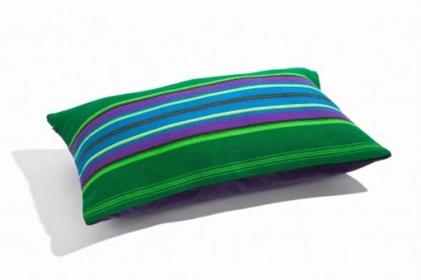 Poduszka zielona z fioletem folk pasiak łowicki, prostokątna 60x40cm
