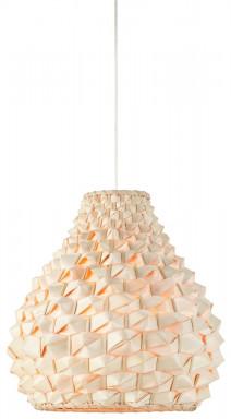 Lampa wisząca Sagano bambus 50x32cm/abażur kropla, biały/naturalny