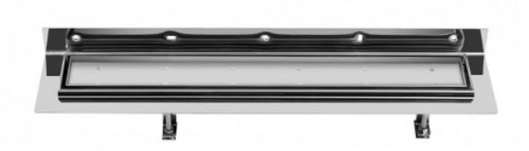 Sapho CORNER 77 nierdzewny odpływ liniowy z rusztem wypeł. płytką 770x130x82 mm FP513