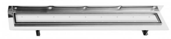 Sapho CORNER 97 nierdzewny odpływ liniowy z rusztem wypeł. płytką 970x130x82 mm FP538