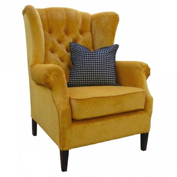 Fotel tapicerowany WING pikowany noga prosta - Kolekcja Chesterfield