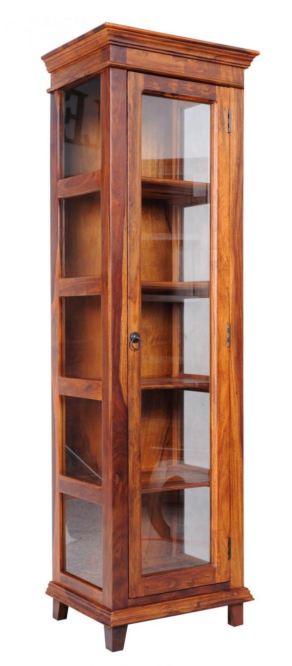 Przeszklona  witrynka  z litego drewna CO-22- Kolekcja Colonial Old