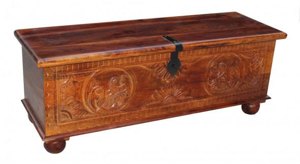 Skrzynia rzeżbiona  z litego drewna CRVD 19-90 cm  -Kolekcja Carved