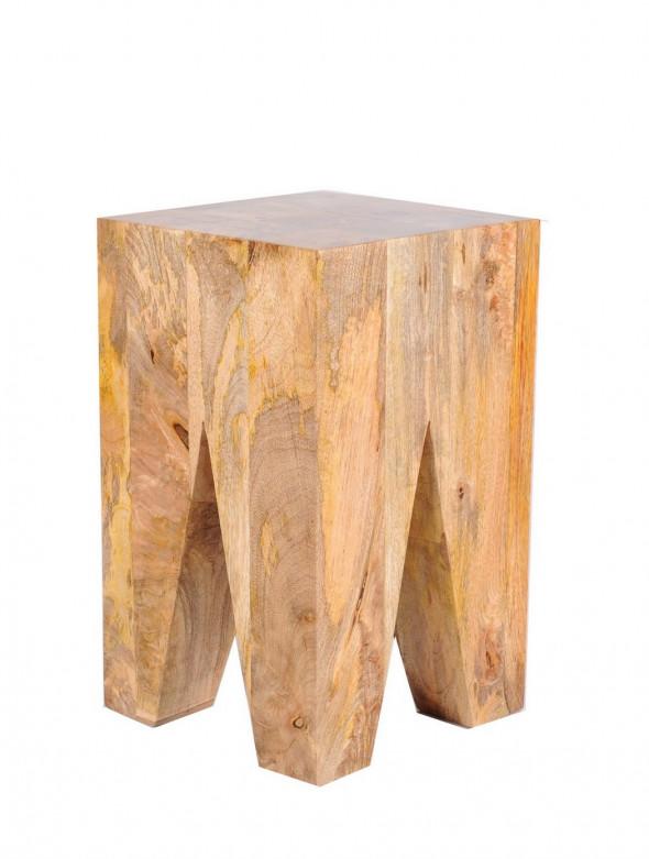 Stołek  z litych bali drewna  mangowca PU-22 - Kolekcja Pure
