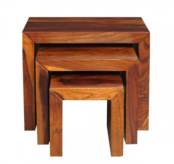 Stoliki kawowe  drewniane  3szt  PU-20 - Kolekcja Pure