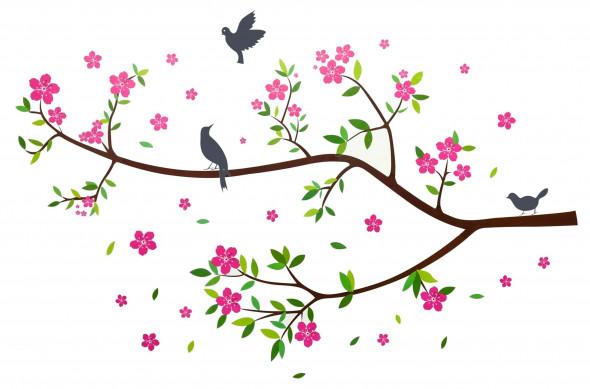 Naklejka na ścianę Gałąź, Ptaki WS-0008